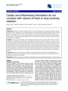 Cardiac and inflammatory biomarkers do not correlate with volume of ...