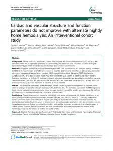 Cardiac and vascular structure and function parameters do not ...