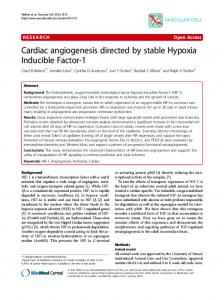 Cardiac angiogenesis directed by stable Hypoxia ... - BioMedSearch