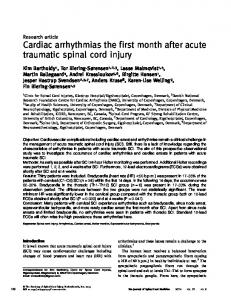Cardiac arrhythmias the first month after acute traumatic spinal cord ...