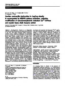 Cardiac contractile dysfunction in Lep/Lep obesity is accompanied by ...