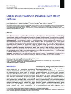 Cardiac muscle wasting in individuals with cancer cachexia