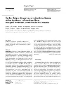 Cardiac Output Measurement in Ventilated Lambs