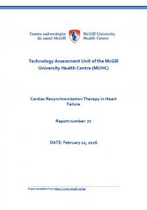 Cardiac Resynchronization Therapy in Heart Failure - McGill University