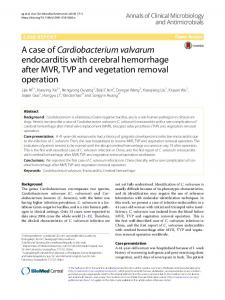 Cardiobacterium valvarum - Annals of Clinical Microbiology and ...