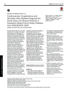 Cardiovascular Complications and Mortality After ... - Diabetes Care