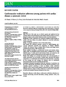 Cardiovascular medication adherence among patients ... - BPS - Wiley