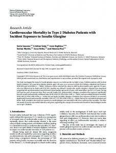 Cardiovascular Mortality in Type 2 Diabetes Patients with Incident ...