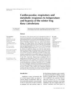 Cardiovascular, respiratory and metabolic