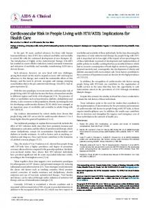 Cardiovascular Risk in People Living with HIV ... - OMICS International