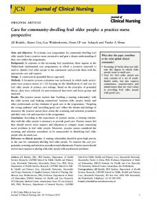 Care for communitydwelling frail older people: a ...