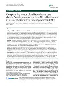 Care planning needs of palliative home care clients: Development of ...