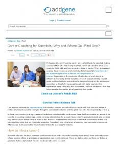Career Coaching for Scientists: Why and Where Do I ...