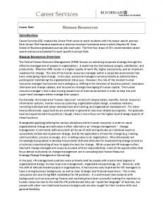 CAREER PATH: Human Resources/Change Management