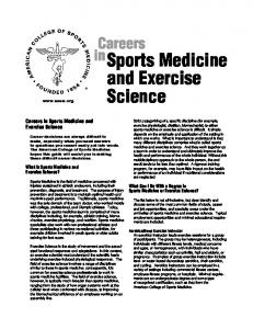 Careers in Sports Medicine and Exercise Science