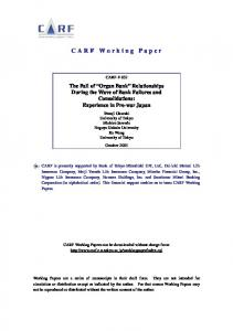 CARF Working Paper
