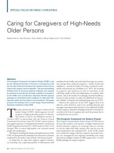 Caring for Caregivers of High-Needs Older Persons