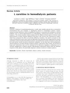 carnitine in hemodialysis patients - Wiley Online Library