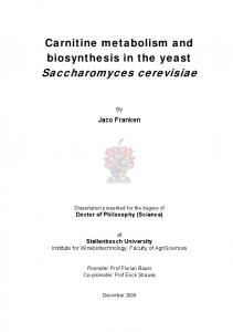 Carnitine metabolism and biosynthesis in yeast ... - CiteSeerX