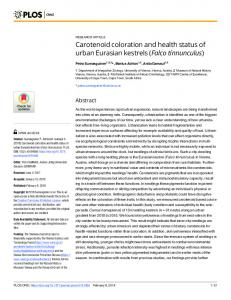 Carotenoid coloration and health status of urban Eurasian ... - PLOS