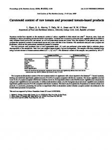 Carotenoid content of raw tomato and processed ...