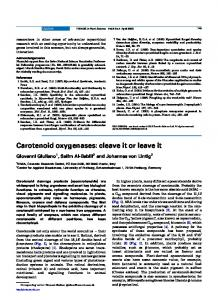 Carotenoid oxygenases: cleave it or leave it - Cell Press