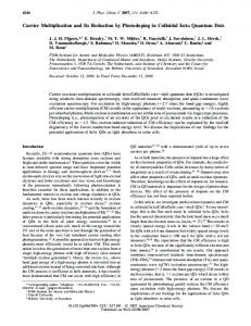 Carrier Multiplication and Its Reduction by Photodoping in Colloidal ...