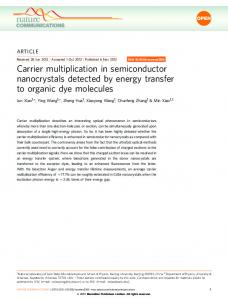 Carrier multiplication in semiconductor nanocrystals detected ... - Nature