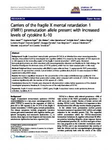 Carriers of the fragile X mental retardation 1 (FMR1 ... - ScienceOpen