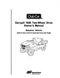 Carryall 295 2wd Owners Manual - Club Car
