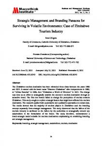 Case of Zimbabwe Tourism Industry