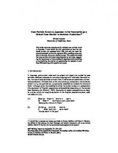 Case Particle Errors in Japanese: Is the ... - SOAS Research Online