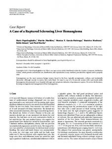 Case Report A Case of a Ruptured Sclerosing Liver Hemangioma