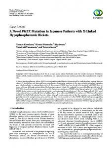 Case Report A Novel PHEX Mutation in Japanese ...