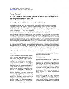 Case Report A rare case of malignant pediatric ectomesenchymoma ...
