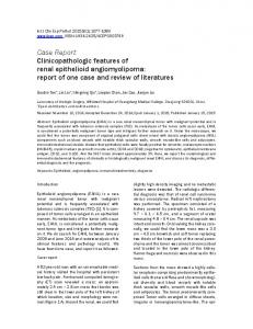 Case Report Clinicopathologic features of renal epithelioid ...