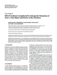 Case Report HELLP Syndrome Complicated by ... - BioMedSearch