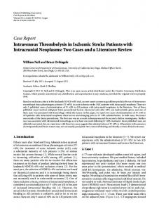 Case Report Intravenous Thrombolysis in Ischemic ... - BioMedSearch