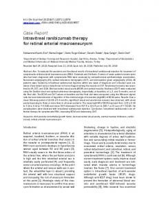 Case Report Intravitreal ranibizumab therapy for retinal arterial ...