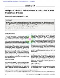 Case Report Malignant Nodular Hidradenoma of the