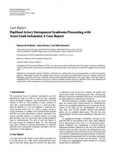 Case Report Popliteal Artery Entrapment Syndrome ... - BioMedSearch