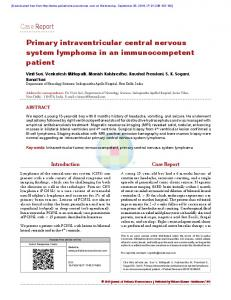 Case Report Primary intraventricular central nervous system ...