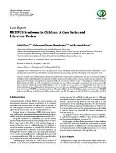 Case Report RHUPUS Syndrome in Children: A Case Series and