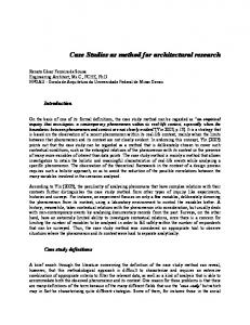 Case Studies as method for architectural research