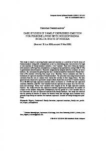 case studies of family expressed emotion for persons living ... - CEEOL