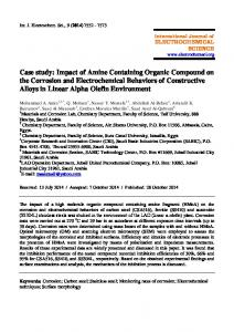 Case study: Impact of Amine Containing Organic Compound on the ...