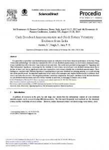 Cash Dividend Announcements and Stock Return ... - ScienceDirect.com
