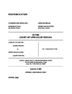 Cash in a Flash v. Henry McCullough - State of Indiana