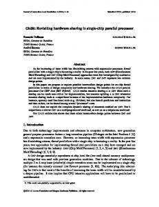 CASH: Revisiting hardware sharing in single-chip parallel processor