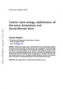 Casimir dark energy, stabilization of the extra dimensions and ... - arXiv